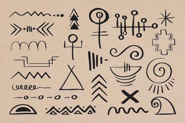 Gezeichnete illustration des böhmischen symbols des gekritzels hand