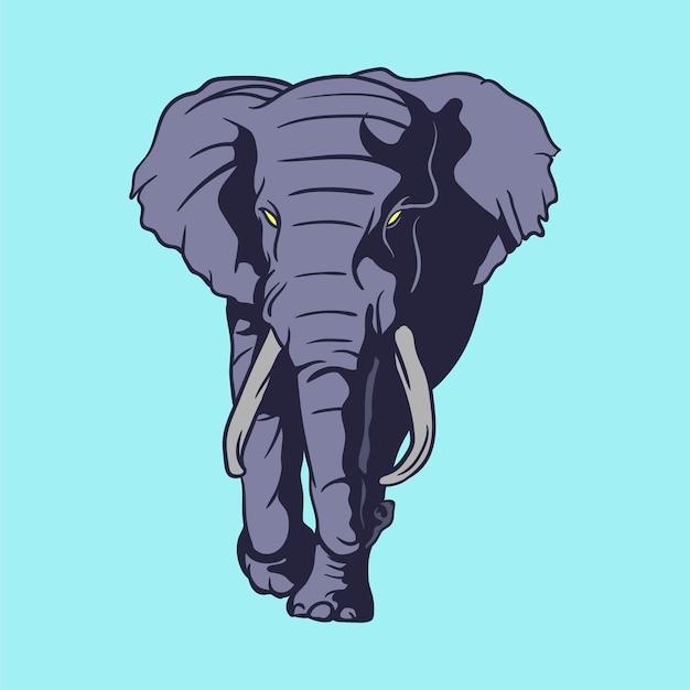 Gezeichnete illustration des elefanten hand