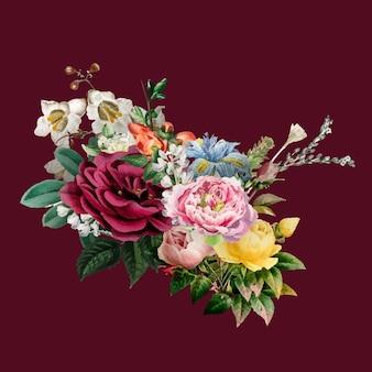 Gezeichnete illustration des eleganten bunten frühlingsblumenvektorblumenstraußes hand