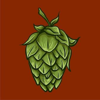 Gezeichnete illustration des hopfen-bieres hand