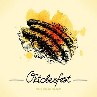 Gezeichnete illustration des oktoberfests hand mit aquarellrückseite
