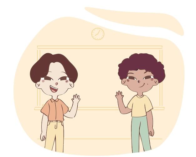 Gezeichnete illustration des pädagogischen konzepts des kleinen jungen mit zwei kindern hand