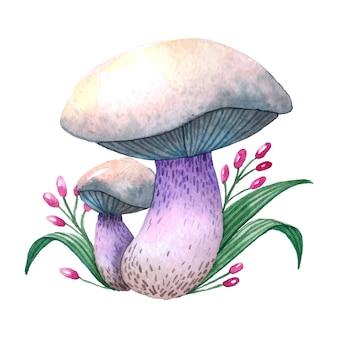 Gezeichnete illustration des pilzes hand