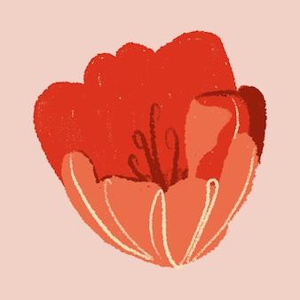Gezeichnete illustration des roten blumenaufklebers der tulpe hand