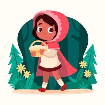 Gezeichnete illustration des rotkäppchens