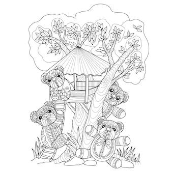 Gezeichnete illustration des teddybären und des baumhauses hand.