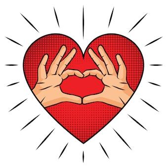 Gezeichnete illustration des vektors hand für heilig-valentinstag. hände in form von herzen. zeichen der liebe