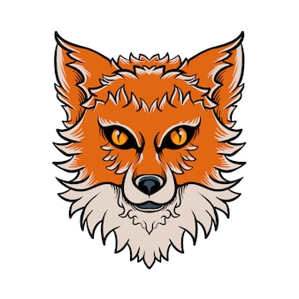 Gezeichnete illustration fox-kopfes hand