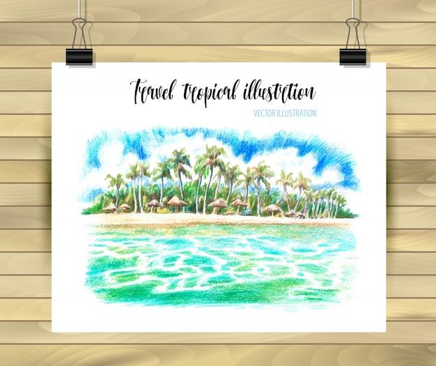 Gezeichnete illustration seaskape tropische hand