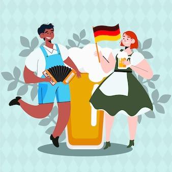 Gezeichnete illustration von oktoberfest-charakteren