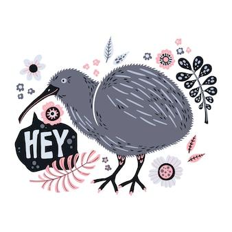 Gezeichnete illustrationen des vektors flache hand. netter kiwivogel mit anlagen und blumen.