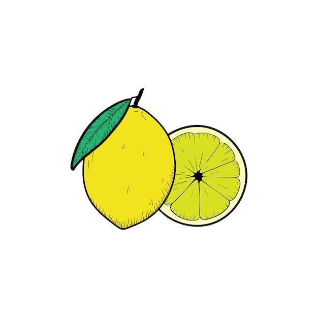 Gezeichnete illustrationsclipartikone der zitronefrucht hand