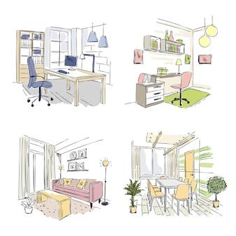 Gezeichnete innenräume. schlafzimmer wohnzimmer büros in modernen gebäude arbeitsplatz studio-skizze.