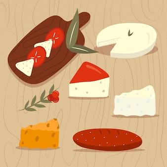 Gezeichnete käsesorten auf holzbrett