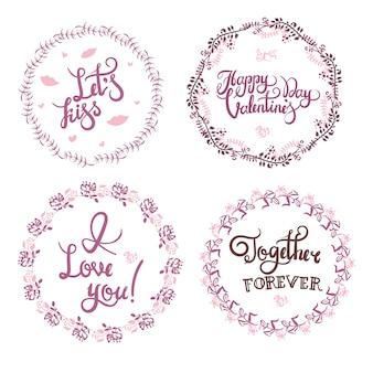 Gezeichnete kalligraphie- und illustrationsvektorsatz des valentinstags hand