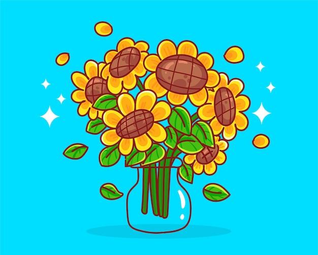 Gezeichnete karikaturkunstillustration der sonnenblume hand