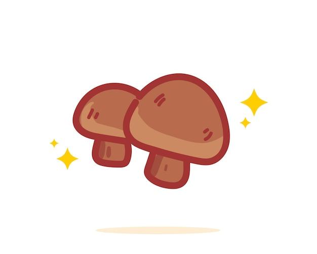 Gezeichnete karikaturkunstillustration des shiitake-pilzes hand