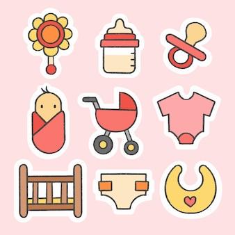 Gezeichnete karikatursammlung des babyaufklebers hand