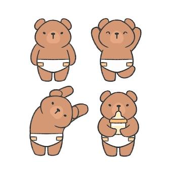Gezeichnete karikatursammlung des babybären hand