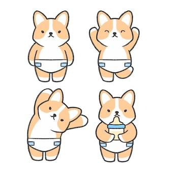 Gezeichnete karikatursammlung des babycorgis hand