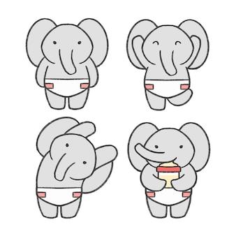 Gezeichnete karikatursammlung des babyelefanten hand