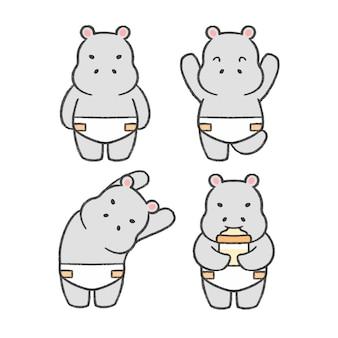 Gezeichnete karikatursammlung des babyflusspferds hand
