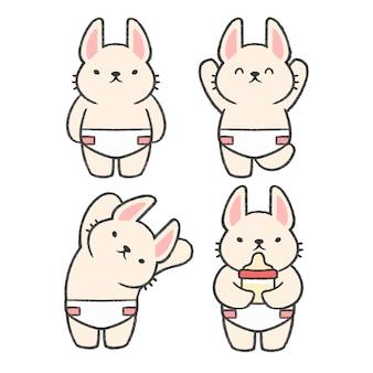 Gezeichnete karikatursammlung des babykaninchens hand