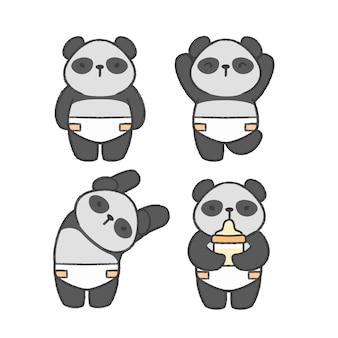 Gezeichnete karikatursammlung des babypandas hand