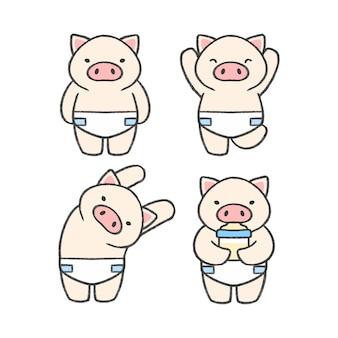 Gezeichnete karikatursammlung des babyschweins hand