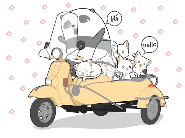 Gezeichnete kawaii katzen und panda mit motorrad.