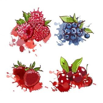 Gezeichnete kirsche, erdbeere, blaubeere und himbeere auf aquarellspritzern und -stellen.