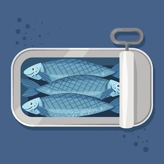 Gezeichnete köstliche sardinenillustration Kostenlosen Vektoren