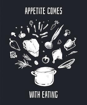 Gezeichnete kreideillustration des suppenrezepts hand