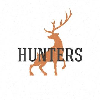 Gezeichnete logo-emblemschablone der rotwild hand