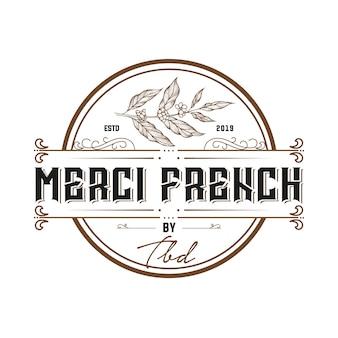 Gezeichnete logoschablone der weinlese-französischen kaffee hand