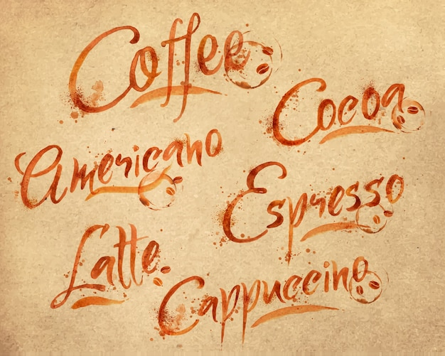Gezeichnete namen von verschiedenen arten von kaffeetropfen kaffee auf kraftpapier