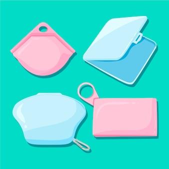 Gezeichnete packung mit aufbewahrungskoffern für gesichtsmasken