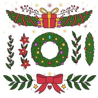 Gezeichnete packung weihnachtsdekorationselemente