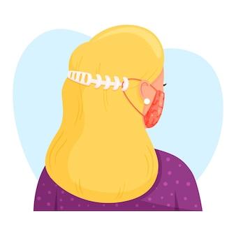 Gezeichnete person, die einen verstellbaren medizinischen maskenriemen trägt