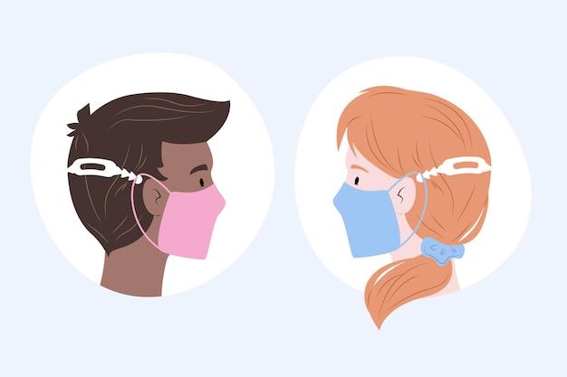 Gezeichnete personen, die einen verstellbaren medizinischen maskenriemen tragen