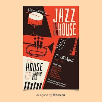 Gezeichnete plakatschablone des jazz abstrakte hand