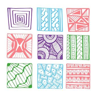 Gezeichnete quadrate des vektors hand für malbuchseite oder -dekorationen. gekritzelsatz der geometrischen linie.