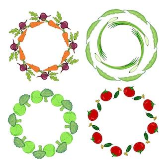 Gezeichnete rahmen des gemüses hand eingestellt. aufkleber für verkaufsdekorations-vektorillustration. gemüse hand gezeichnet