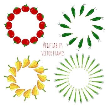 Gezeichnete rahmen des gemüses hand eingestellt. lokalisierte gemüserahmen-dekorationsvektorillustration. gemüse stilisierte kollektion für design