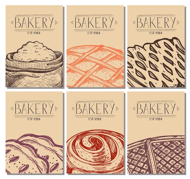 Gezeichnete restaurantmenüabdeckung der bäckerei hand