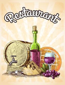 Gezeichnete restaurantplakat-vektorillustration der weinkäse- und -brotweinleseskizze dekorative hand