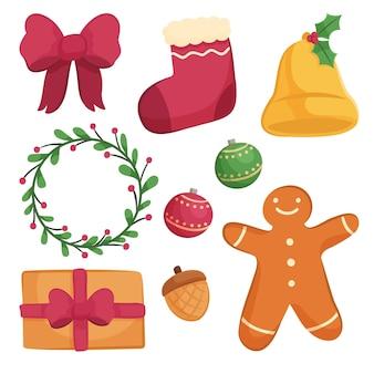 Gezeichnete sammlung von weihnachtsdekorationselementen