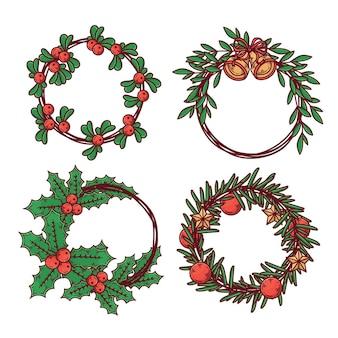 Gezeichnete sammlung von weihnachtskränzen