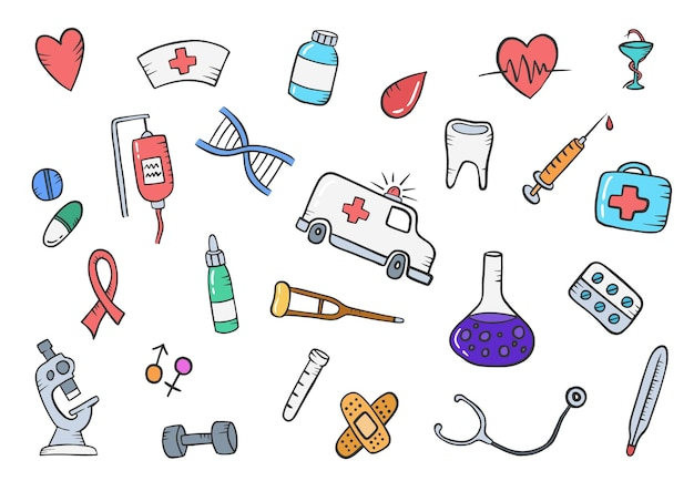 Gezeichnete sammlungen des gesundheits- oder gesundheitswesens des medizinischen gekritzels hand mit flacher entwurfsart-vektorillustration