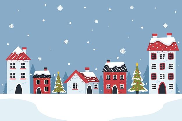 Gezeichnete schneebedeckte weihnachtsstadt